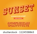 vintage 3d serif alphabet made... | Shutterstock .eps vector #1124538863