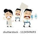 angry demonstrators clipart | Shutterstock .eps vector #1124549693