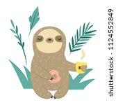 funny sloth with doughnut and... | Shutterstock .eps vector #1124552849