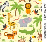 Stock vector seamless pattern with funny jungle animals vector illustration eps 1124557199