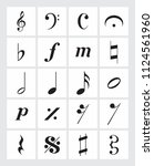 a set of musical symbols on a...   Shutterstock . vector #1124561960