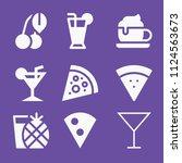filled set of 9 food icons such ... | Shutterstock .eps vector #1124563673