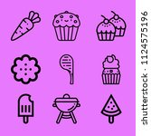 set of 9 food outline icons... | Shutterstock .eps vector #1124575196