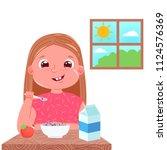 a baby girl eats breakfast in... | Shutterstock .eps vector #1124576369