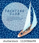yachting club banner. top view... | Shutterstock .eps vector #1124586698