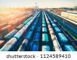 aerial view of colorful freight ... | Shutterstock . vector #1124589410