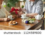 wooden table with bunch of... | Shutterstock . vector #1124589830