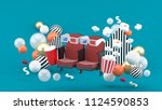 cinema chair soft drinks and... | Shutterstock . vector #1124590853