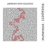 labyrinth with solution. | Shutterstock .eps vector #1124592416
