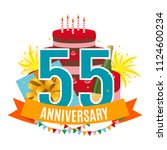 template 55 years anniversary... | Shutterstock . vector #1124600234