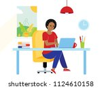 freelance female girl... | Shutterstock .eps vector #1124610158