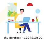 businessman in the shirt... | Shutterstock .eps vector #1124610620