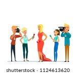 celebrity and journalists.... | Shutterstock .eps vector #1124613620