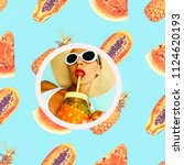 collage fresh smoothies girl in ... | Shutterstock . vector #1124620193