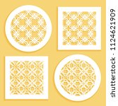 templates for laser cutting ... | Shutterstock .eps vector #1124621909