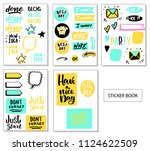 big set of  cute vector cards ... | Shutterstock .eps vector #1124622509