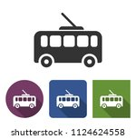 trolleybus icon in different... | Shutterstock . vector #1124624558