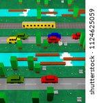 3d arcade video game background ...   Shutterstock . vector #1124625059