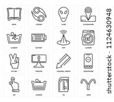set of 16 icons such as aries ...
