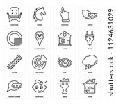 set of 16 icons such as home ... | Shutterstock .eps vector #1124631029