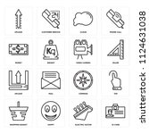set of 16 icons such as id card ...