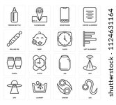set of 16 icons such as leo ...
