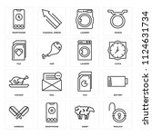 set of 16 icons such as padlock ...