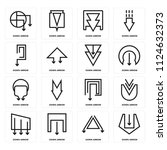set of 16 icons such as down...