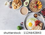 healthy breakfast with granola... | Shutterstock . vector #1124642843