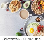 healthy breakfast with granola... | Shutterstock . vector #1124642846