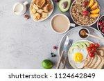 healthy breakfast with granola... | Shutterstock . vector #1124642849