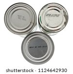 three tin cans with expired... | Shutterstock . vector #1124642930