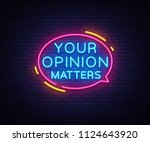 your opinion matters neon signs ... | Shutterstock . vector #1124643920