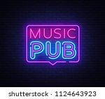 music pub neon sign . live... | Shutterstock . vector #1124643923