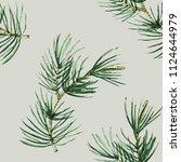 pine branch watercolor seamless ... | Shutterstock . vector #1124644979