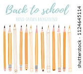 vector pencil background. back... | Shutterstock .eps vector #1124645114