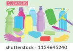 cleaning products   brush ... | Shutterstock .eps vector #1124645240