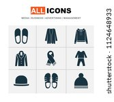 garment icons set with scarf ...   Shutterstock .eps vector #1124648933