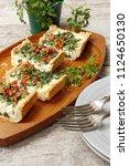 tart with ricotta and chervil ...   Shutterstock . vector #1124650130