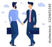 young businessmen shaking hands.... | Shutterstock .eps vector #1124651540