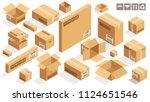 isometric vector cardboard... | Shutterstock .eps vector #1124651546
