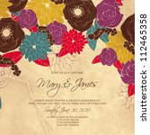 wedding card or invitation with ... | Shutterstock .eps vector #112465358