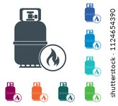camping gas bottle icon. flat... | Shutterstock .eps vector #1124654390