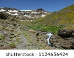 rear view panorama of hikers... | Shutterstock . vector #1124656424
