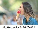 side view portrait of a happy...   Shutterstock . vector #1124674619