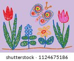 child drawing styled flowers...   Shutterstock .eps vector #1124675186