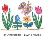 child drawing styled flowers... | Shutterstock .eps vector #1124675366