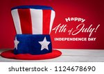 a felt colorful uncle sam hat... | Shutterstock . vector #1124678690