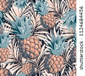 pineapples on the background of ... | Shutterstock .eps vector #1124684456