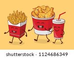 friends forever. fries  chicken ... | Shutterstock .eps vector #1124686349